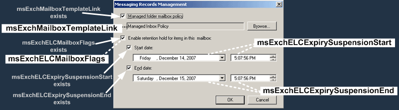 E2K7 User Attributes : Messaging Records Dialog