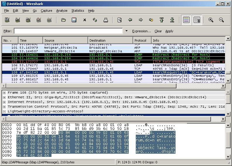 Screenshot Wireshark LDAP